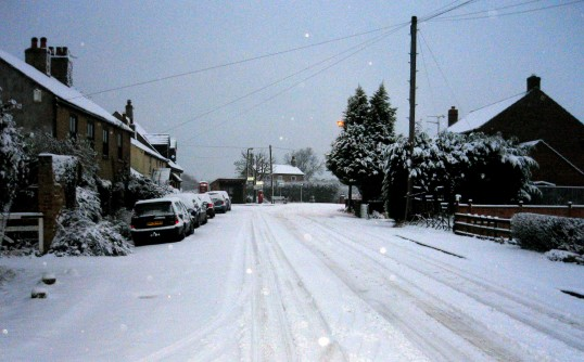 Main Street, Pymoor, looking north towards the crossroads, after the heaviest fall of snow seen in the village for 18 years.