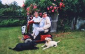 Vera Saberton, celebrating her 94th Birthday with Tony Taylor, 'Sky' and 'Jake', in Pymoor, 2008.