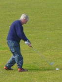 Former Pymoor resident Alan Strong enjoys a game of golf on the local course in Little Downham.