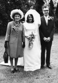 Cynthia Parson of Pymoor with her parents on her wedding day.