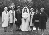 Six sisters of the Fenn family who used to live in a small cottage by the Hundred Foot Bank, Oxlode, Pymoor.