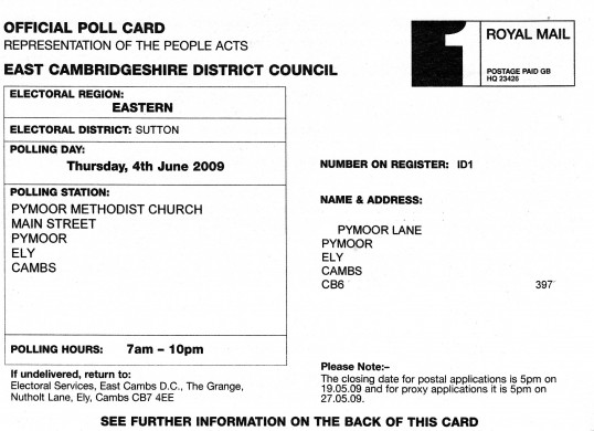 Polling card for the Combined European Parlimentary & County Council Elections on the 4th June 2009 received by the electorate in Pymoor.