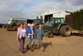 Cynthia Parson with Joan and Vera Saberton at Laurel Farm, Main Drove, Pymoor.