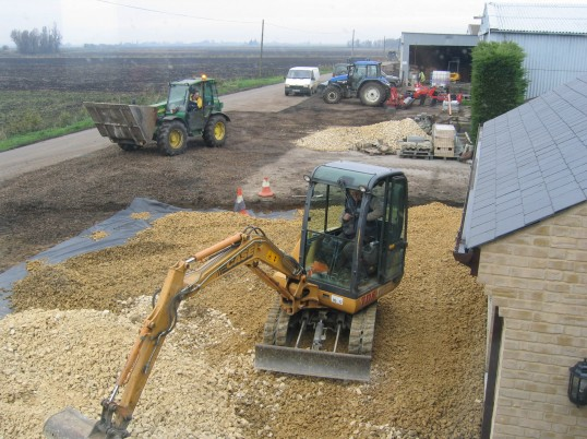 Laying the drive and frontage outside Laurel Farm, Main Drove, Pymoor.