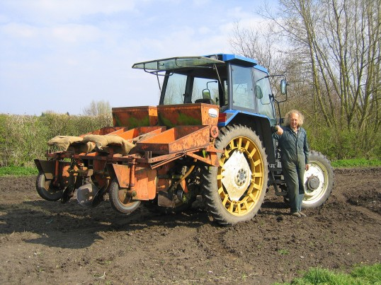 Tony Rudderham with his tractor on his field at Dunkirk Pymoor, 2007.