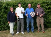 Cynthia Parson with the winners of the Oxlode Fishing Lakes, 15th Annual Charity Shield Fishing Match 2009, Oxlode, Pymoor .