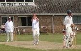 Disappointment is etched on the face of the Wiburton batsman as he is 'caught and bowled' by Pymoor Cricket Club captain, Steve Saberton.