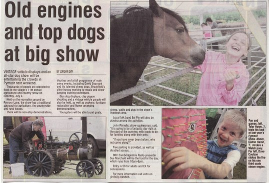 Article from the Ely Weekly News about the forthcoming Pymoor Show which takes place in Pymoor on the 4th July 2010. A great day out for all the family!