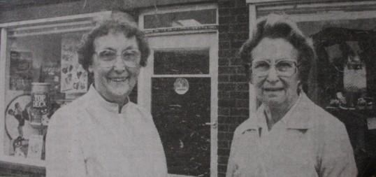 Joan & Vera Saberton outside Saberton Stores in Main Street, Pymoor.