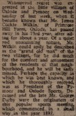 Newspaper report of the death of James Cockle Wilkin of Primrose Hill Farm, Oxlode, Pymoor 1928.
