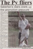 Extract from Ely Standard about Pymoor CC's win at Sutton to set up an exciting end to the cricket season.