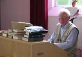 Kneale Watson played the organ at the Pymoor Methodist Chapel Collectables Fair.