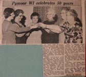 Newspaper article about the Pymoor Wi celebrating their 50th Anniversary.