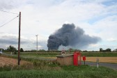 The hugh fire at Murfitts Industries Ltd in Wisbech Road seen from the corner of Main Drove, Pymoor.. BBC News report on the Fire at Murfitts Industries Ltd, Wisbech Road, 2009