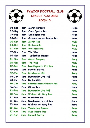 2009/10 Fixture List of Pymoor FC who play in the Cambridgeshire Football Association County League Division BIS 2B.