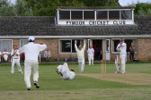 Pymoor CC bowler Lourens Herselman dives to catch out the Wimbington CC batsman in the last match of the season 2009.