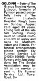 Notice in the Ely Standard recording the passing of Betty Golding, formally of Pymoor.
