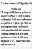 Extract from the Downham Parish Magazine about Pymoor Day School mistress, Miss Slater, leaving to take up an appointment at Adelaide.