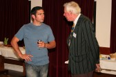 Adam Knowles chats to Arthur Gee of R.A.B.I at the Pymoor Show Charity Cheque Presentation Evening 2009 at the Pymoor Social Club.
