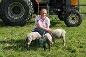 Emma Ure of Pymoor with lambs.