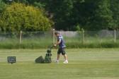 Pymoor Cricket Captain Steve Saberton prepares the wicket at the club's ground in Pymoor Lane, Pymoor.