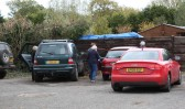 More competiors take to their cars at the start of the Pymoor Cricket & Social Club Treasure Hunt.