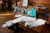 Pymoor Cricket & Social Club Treasure Hunt organisers, Bill Dennis & Christine Saberton wade through a mountain of answer papers.