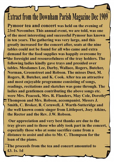 Extract from the Downham Parish News about the Pymoor Tea & Concert held on the 23rd November 1909.