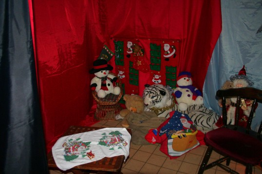 Santa's Grotto is a magical place at the Pymoor Social Club Christmas Bazaar 2009.