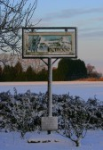 Pymoor village sign. Pymoor received its first snowfall of the winter during the night of the 18th/19th December 2009.