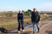 Christine Saberton & Bruce Smith make their way along Pymoor Lane, during the Pymoor & Oxlode Walk 2010.