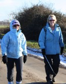 Melanie Grace-Boughton & Brenda Stapleton make their way along Pymoor Lane, during the Pymoor & Oxlode Walk 2010.