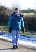 Inger Van Ogtrop makes her way along Pymoor Lane, during the Pymoor & Oxlode Walk 2010.