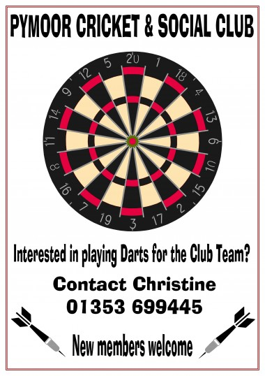 Pymoor Cricket & Social Club, Pymoor Lane, Pymoor, have a darts team that play their home games on Friday nights. New Members Welcome.