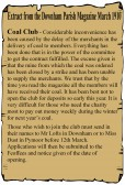 Extract from the Downham Parish Magazine in March 1910 about the delay in Coal Club members in Pymoor & Downham receiving their coal.