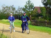 Rosemary & Roger Davis of Pymoor on a cycle ride alongside the Hundred Foot Bank, Oxlode, Pymoor, 2007.
