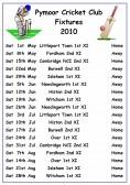 Pymoor Fixture Club Fixture List for the 2010 season.