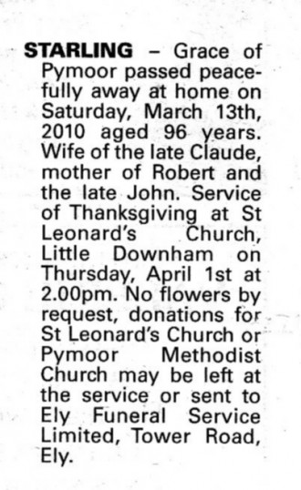 Notice in the Ely Standard announcing the death of Grace Starling, aged 96, of Pymoor.