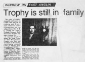 Article in the Daily Press about Jabez Martin of Pymoor's award winning mangold and the Trophy he received, 1983.