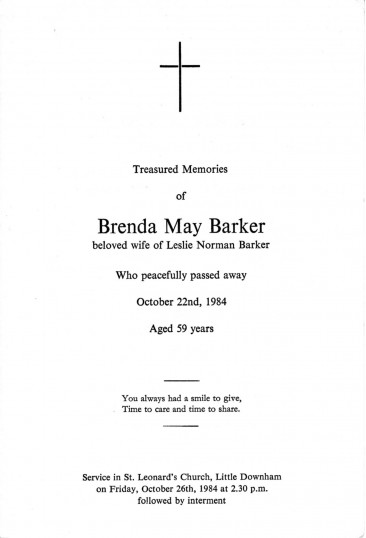 Service sheet  for the funeral of Brenda May Barker, of Pymoor, who passed away on 22nd October 1984 aged 59 years..