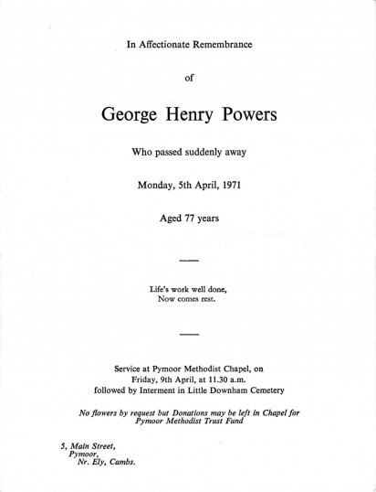Service sheet for the funeral of George Henry Powers, of Pymoor, who passed away on 5th April 1971 aged 77 years.