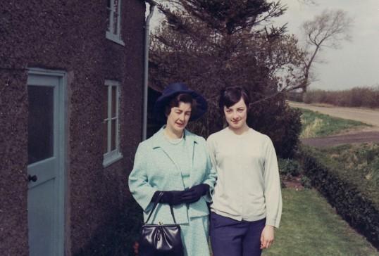 Iris & Carol Moxon, outside Dunkirk Cottage, Dunkirk, Pymoor circa 1969.