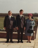 Claude, Norman and Rene Golding in the garden of their house in Straight Furlong, Pymoor, on the occassion of Norman Golding's Wedding, 1969.