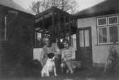 Daisy Martin & Joan Goodjohn with 'Nerence' (the dog) in Pymoor.