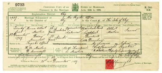 Marriage Certificate of Horace Albert Martin & Daisy Cornwell of Dunkirk, Pymoor.