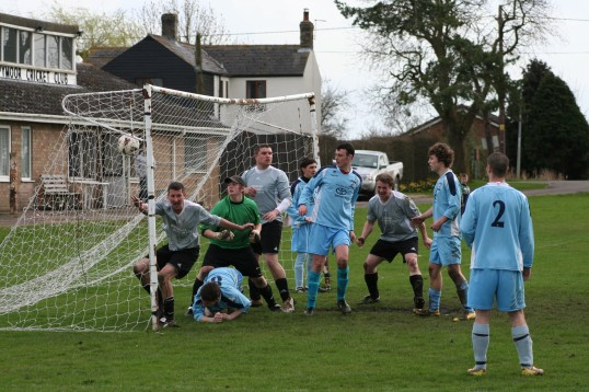 Pymoor FC believe they have the equaliser against Godmanchester Rovers 2010. The goal was disallowed and Pymoor lost 2-1.