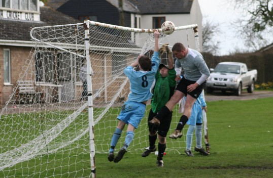 Pymoor FC claimed a penalty after the Godmanchester Rovers defender appeared to punch the ball clear. Not given & Pymoor lost 2-1.