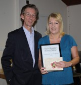 Brian Bacon presents Pat Golding with her Gold Medal & Certificate in Country & Western Line Dancing in the Pymoor Social Club 2010.