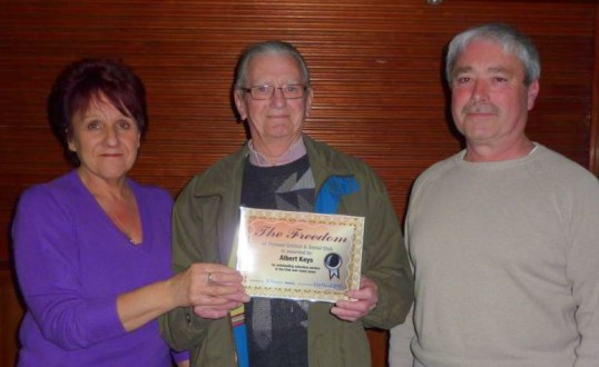Pymoor Cricket & Social Club, awarded Albert Keys  the Freedom of the Club in recognition of his voluntary service to the club over many years.