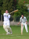 Jamie Russell of Pymoor CC played a fine innings, scoring 62, in Pymoor's opening match of the season against Littleport CC 2010.